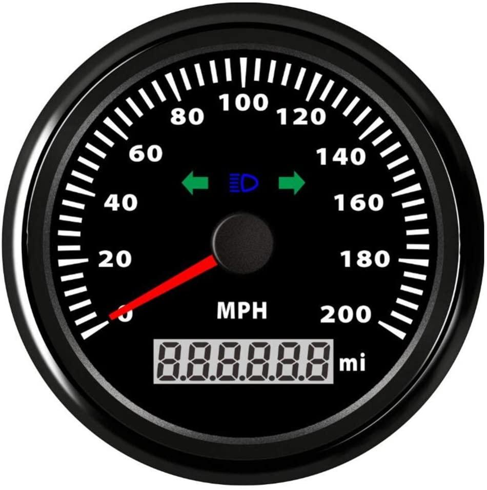 Kadir Koc 1pc 85mm 0-200MPH GPS Speedometers LCD Speed Mileometers Waterproof 0-200Miles Per Hour with Turn Light and High Beam Light Signal - Black