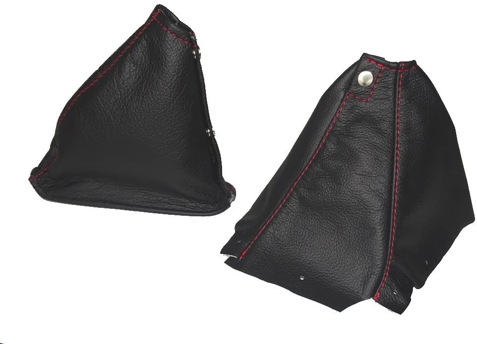 For Nissan Skyline R34 1998-2002 Shift & E brake Boot Black Genuine Leather Red Stitching