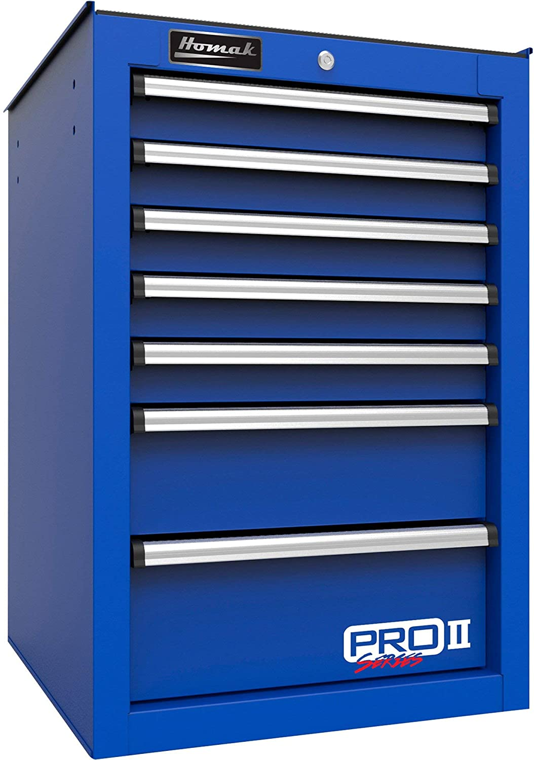 Homak 14in. Pro 2 Series 7-Drawer Side Tool Cabinet - Blue, 14.5in.W x 24.5in.D x 32.87in.H, Model# BL08014552