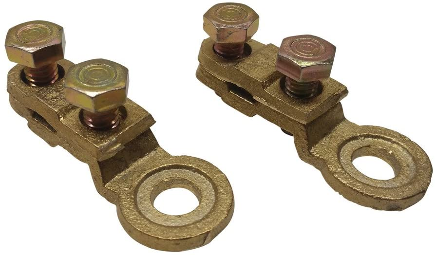 Ter-Mex TM26 - 2X Side Post Battery Terminals Solid Brass Cable Ends Eye Terminals GM clamps (Pack of 2)