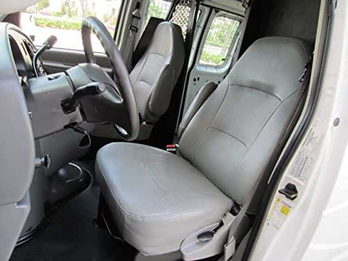 Durafit Seat Covers Made to fit E-Series Van Captain Chairs with One Armrest Per Seat, Exact Fit Seat Covers in Dark Gray Leatherette. NOT for RV's