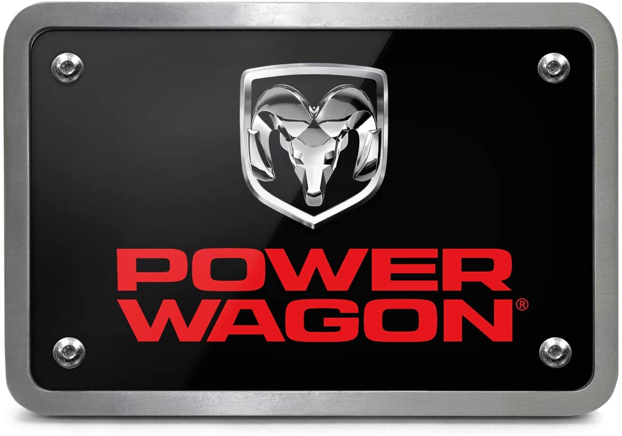 iPick Image - RAM Power Wagon UV Graphic Black Billet Aluminum 2 x 2 inch Tow Hitch Cover for SUV and Truck Made in USA