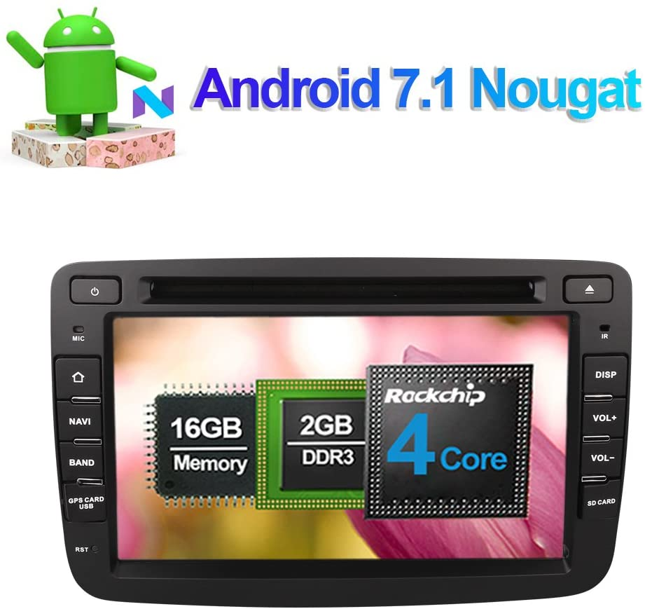 Flynavigo 7 Inch Single Din Android 7.1 Car Stereo CD DVD Player In Dash Car Radio Head Unit with Bluetooth GPS Navigation for Renault Duster Dacia Duster 2010- Support FM AM Mirror Link WIFI 3G USB