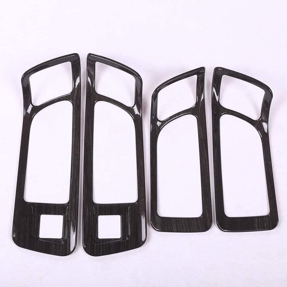 TongSheng ABS Black Wood Grain Interior Door Handle Frame Cover Trim 4pcs for Land Rover Discovery Sport 2015-2017