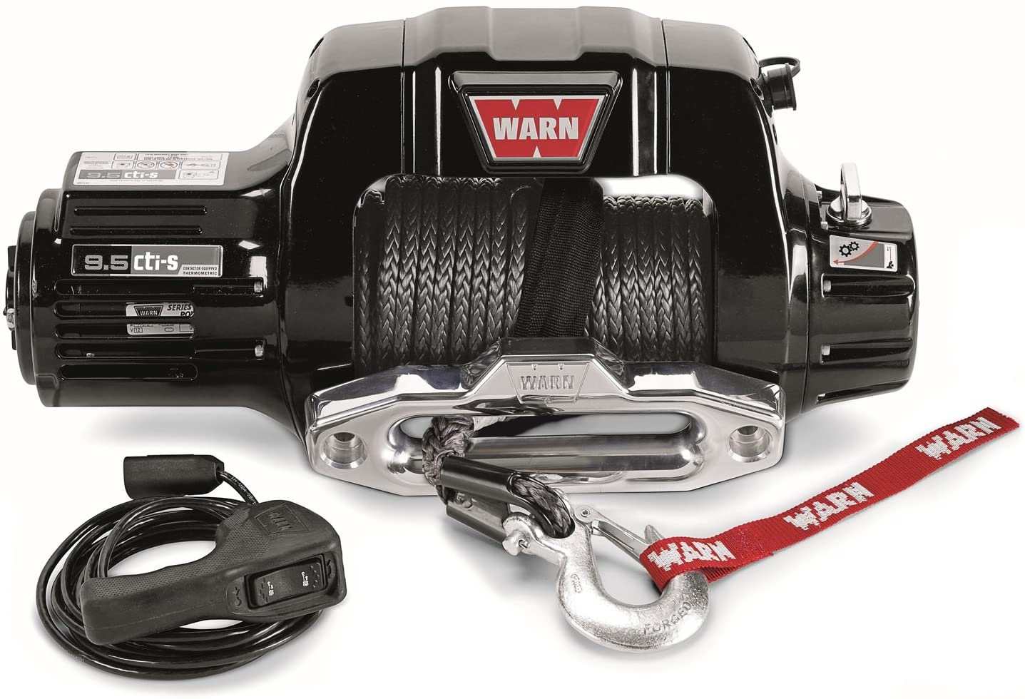 WARN 97600 9.5cti-s Electric 12V Winch with Synthetic Cable Rope: 3/8
