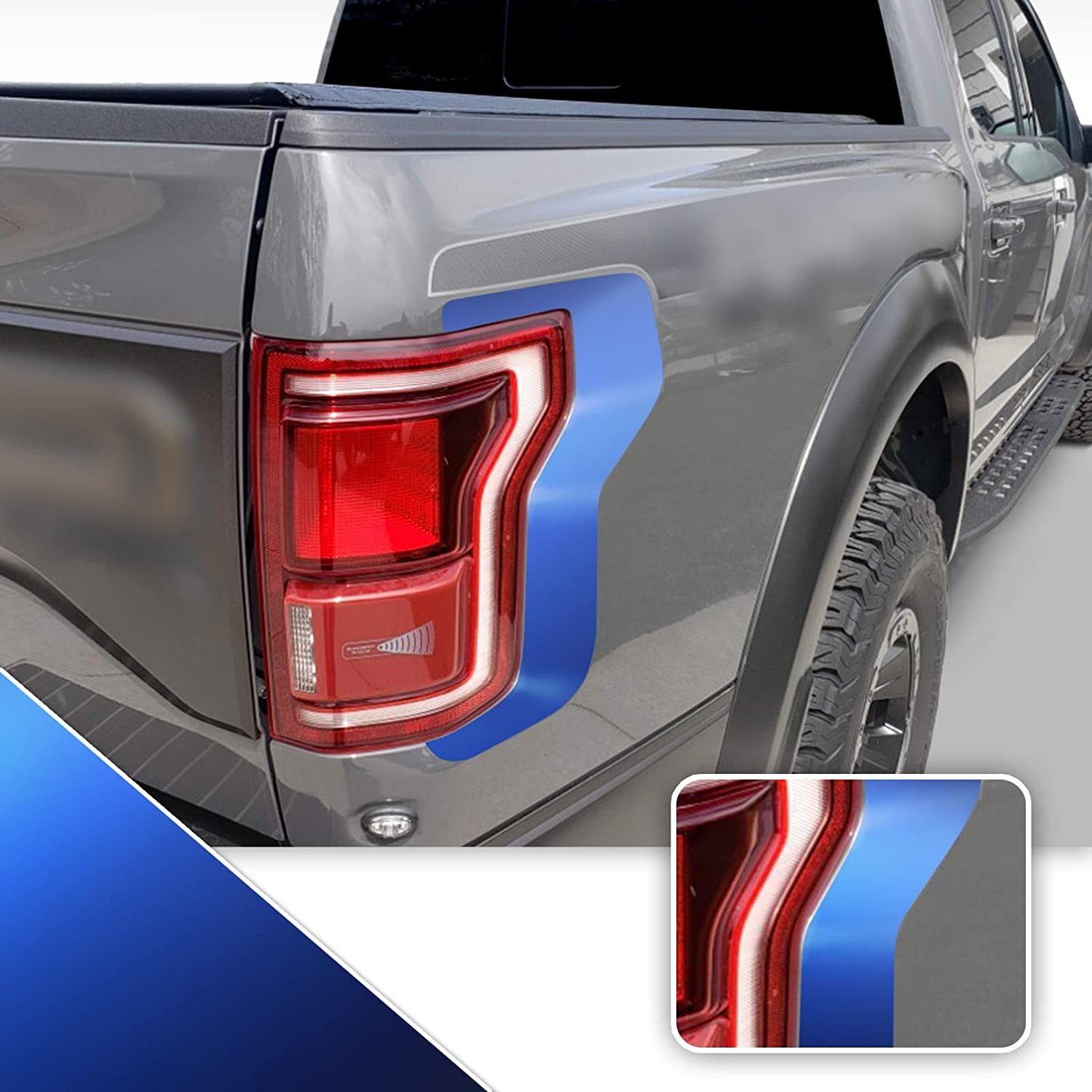 Tail Light Accent Vinyl Graphic Overlay Wrap Kit Compatible with Ford F-150 Raptor 2018 2019 2020 - Metallic Matte Chrome Blue