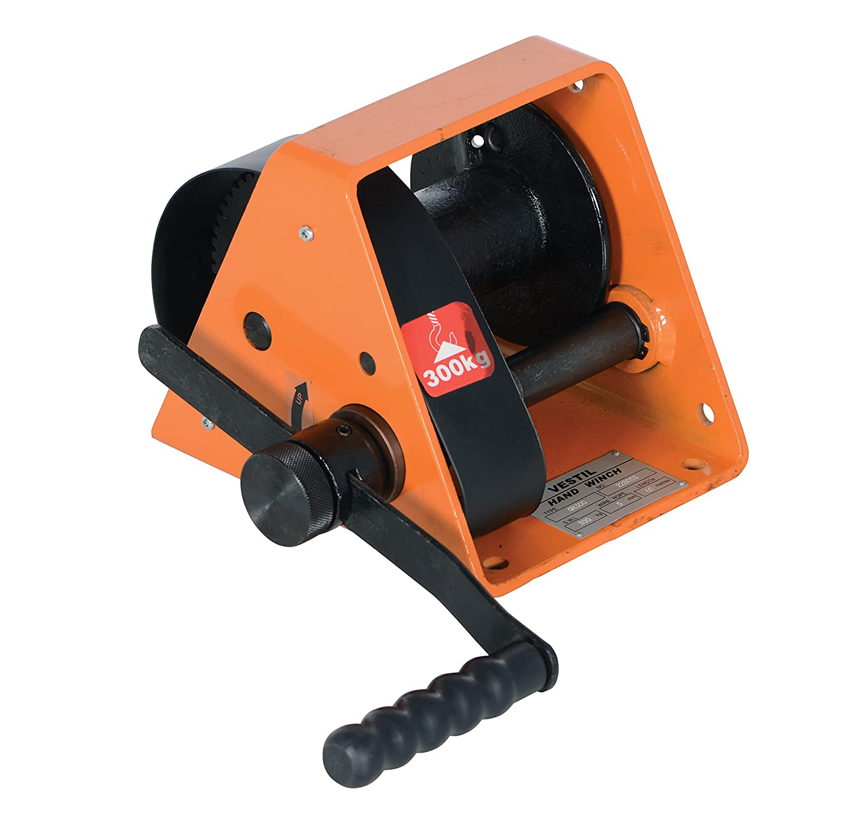 Vestil HWG-600 Manual Hand Winch with Horizontal Handle, 600 lbs Capacity, 3/16