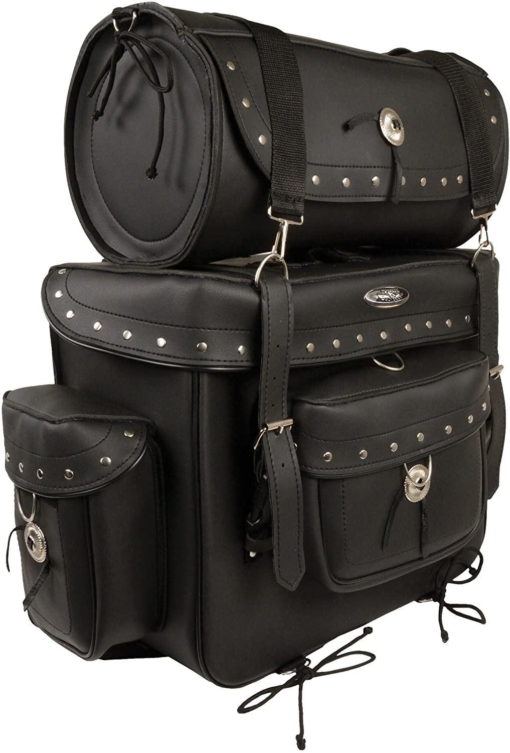 Milwaukee Leather SH538-BLK-PCS Black Large PVC 2 Piece Touring Pack (18X16X9)