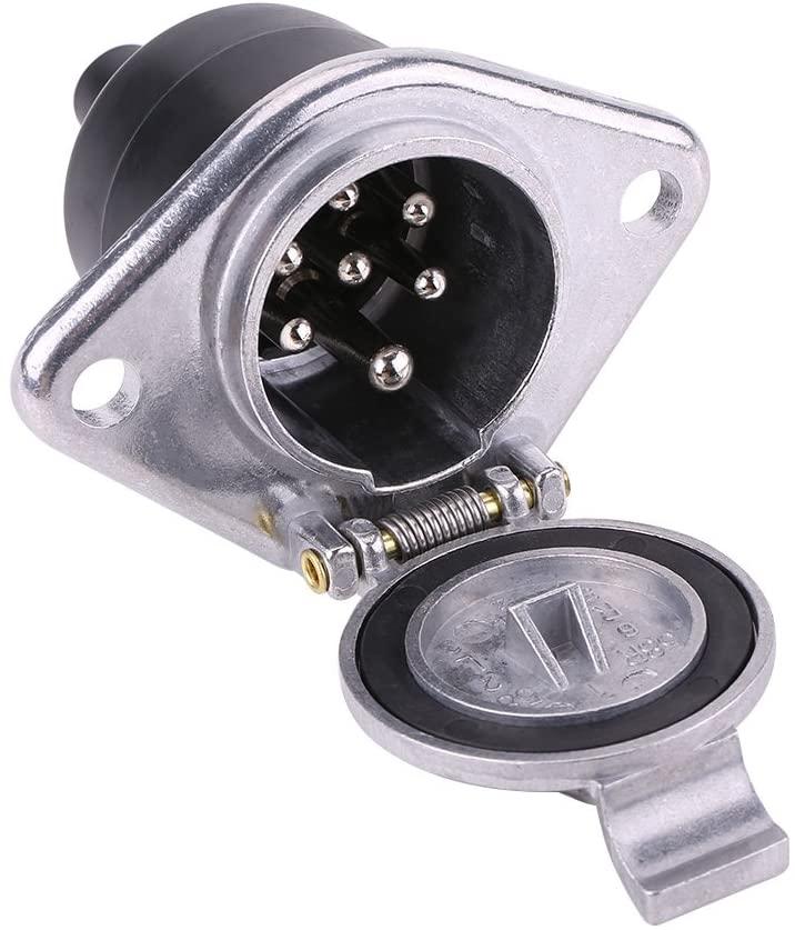 Qiilu Universal 24V 7-Pin Trailer Plug 7-Pole Wiring Connector Adapter Socket