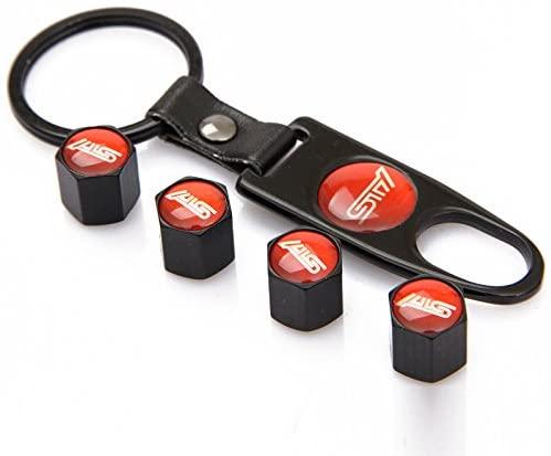 TKXT Black Universal Wheel Tire Valve Stem Caps Covers Red Logo and 1 pcs Keychain For STI