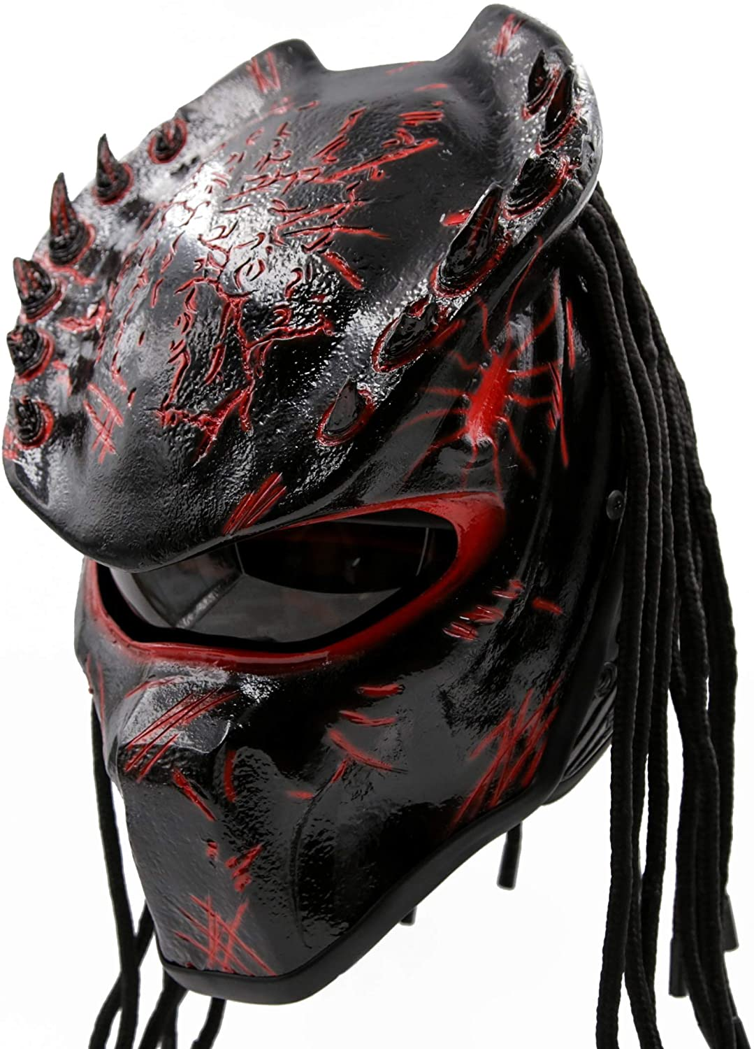 Predator Motorcycle Helmet - DOT Approved - Unisex - Red Spiked