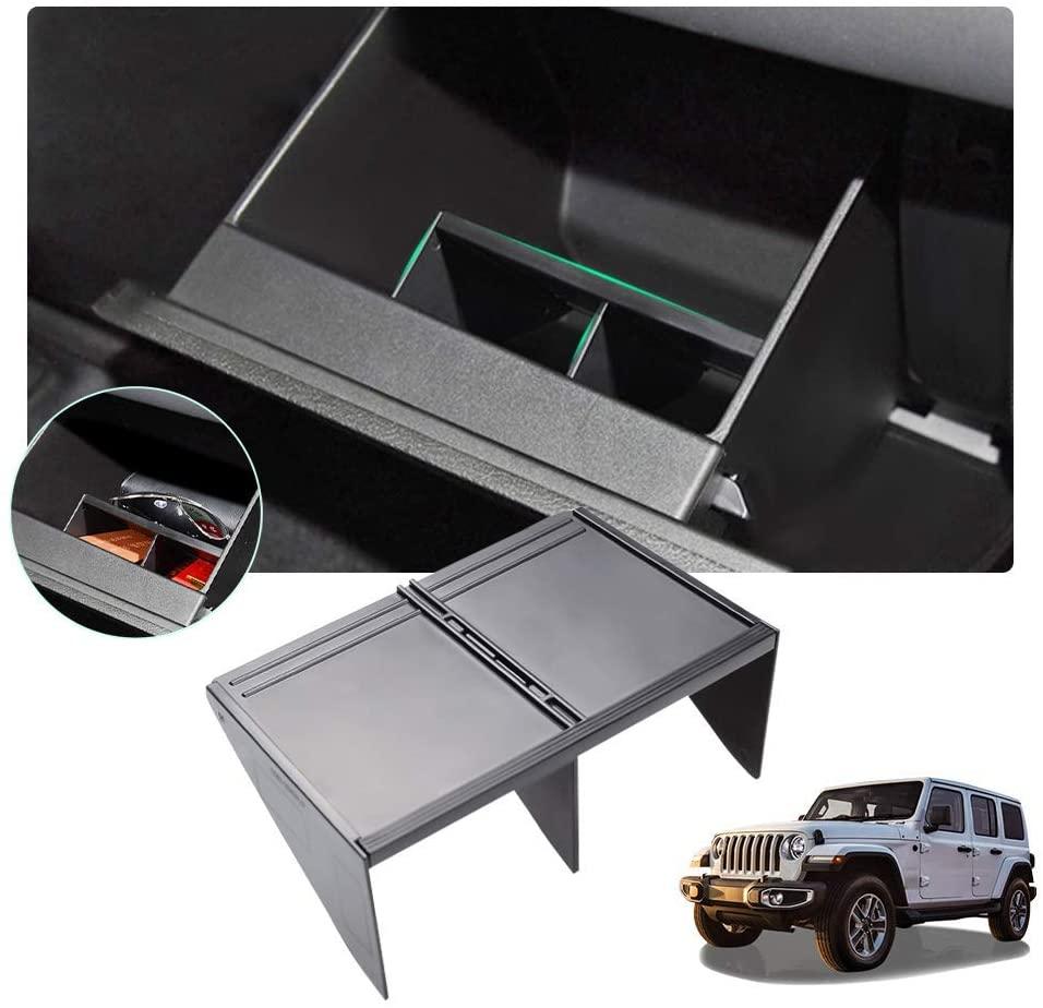 Center Console Organizer for 2018-2019 Wrangler JL/ 2020+ Gladiator JT,Car Accessories Armrest Box Internal Storage Insert Divider Glove Box Organizer Partition HANBUN
