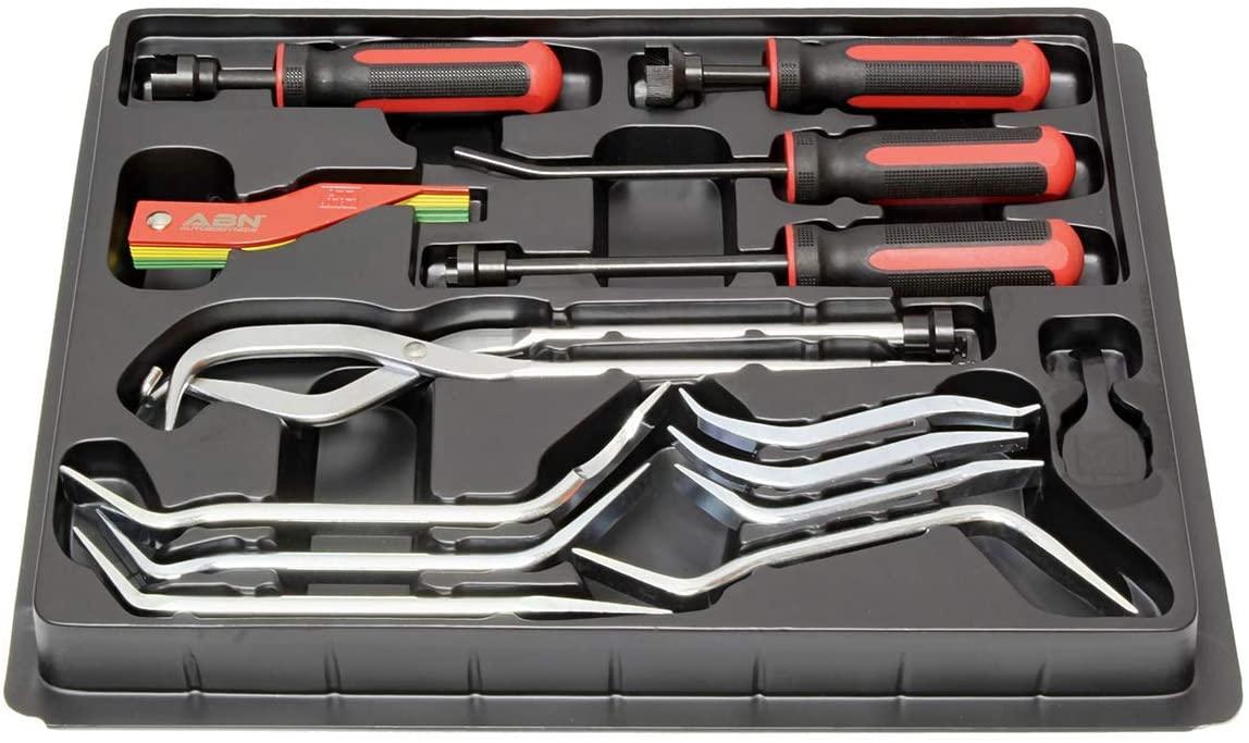 ABN Brake Drum Tool Kit 15-Piece Service Brake Kit with Spring Pliers, Brake Spoons, Pad Gauge, Brake Spring Tool