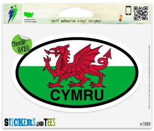 Wales Cymru Flag Oval Vinyl Car Bumper Window Sticker 5 x 3