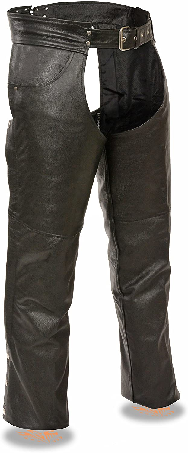 EVENT LEATHER Men's Classic Motorcycle Chap w/Jean Pockets Fully Lined (XX-Large)