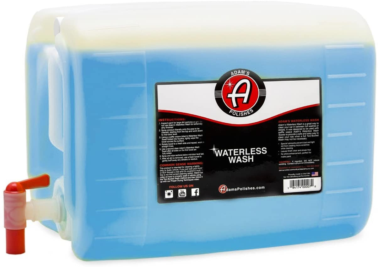 Adam's Waterless Car Wash 5 Gallon - Made with Advanced Emulsifiers and Special Lubricants - Eco-Friendly Waterless Car Washing with No Hoses, No Water, No Messes (5 Gallon)