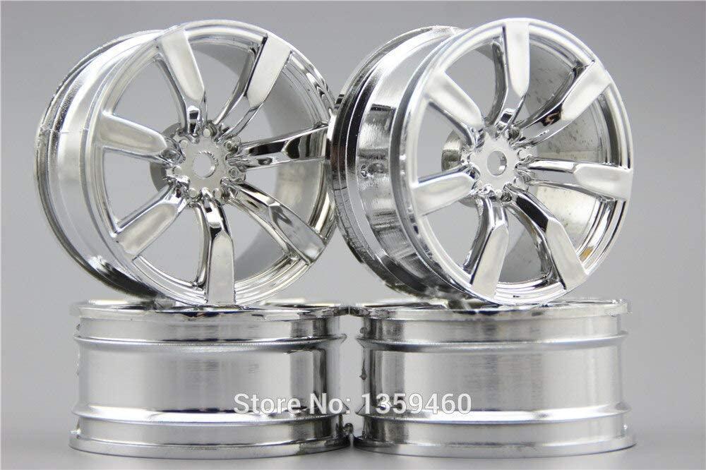 Vehicles-OCS 4pcs 1/10 Touring&Drift 15% Reinforced Nylon Wheel Rim W7S2C(Chrome) 3mm Offset fits for 1:10 Touring&Drift Car 10635