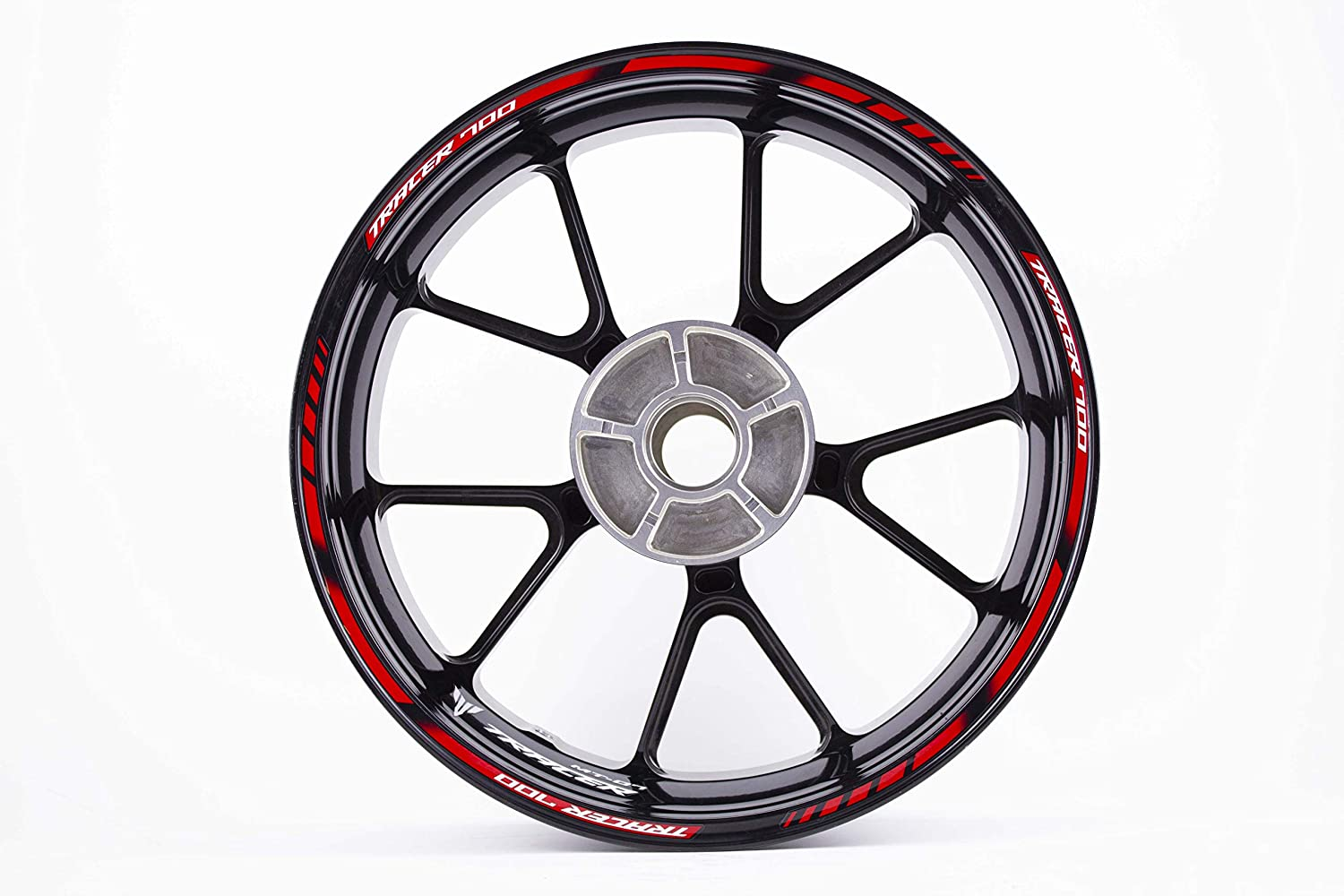 Motorcycle wheel rim decals rimstriping strips accessory sticker for Yamaha MT07 Tracer 700 (Red)