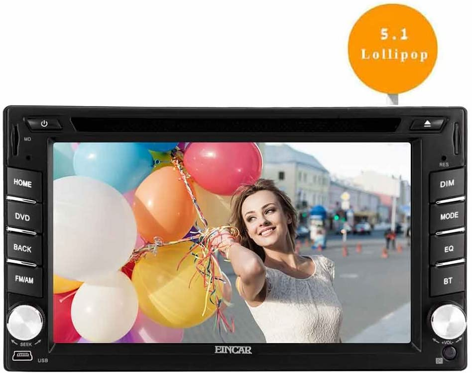 EinCar Android 5.1 Car Stereo Lollipop Double 2 Din in Dash Navigation GPS Unit 6.2'' Capacitive Touch Screen Vehicle DVD CD Player Bluetooth AM/FM Radio Support WiFi/Mirrorlink/1080P Video
