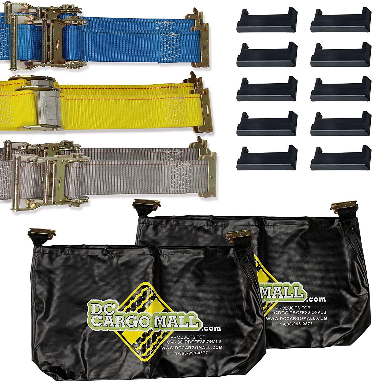 E-Track Tiedown Kit: (2)20' Ratchet Straps, (2)16' Ratchet Straps, (2)12' Cam Buckle Straps, 10 E-Track End Caps, 2 E-Track Bags. Value Trailer Accessories. E-Track Rails NOT Included.