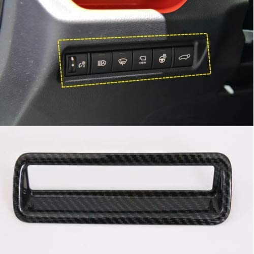 ABS Carbon Fiber Style Headlight Switch Button Cover for Toyota RAV4 2019-2020