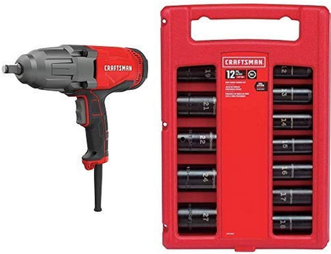 CRAFTSMAN Impact Wrench, 1/2-Inch, 7.5-Amp with Impact Socket Set, Metric, 1/2-Inch, 12-Piece (CMEF901 & CMMT15887)
