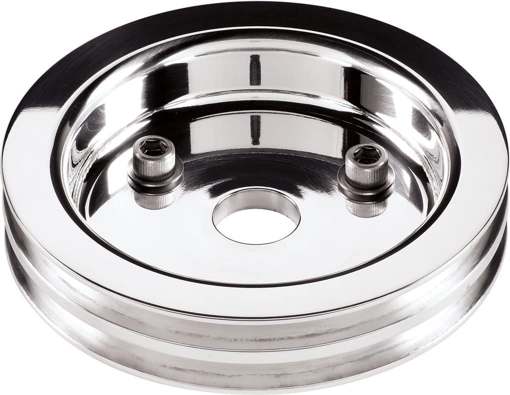 NEW BILLET SPECIALTIES POLISHED BBC CRANKSHAFT PULLEY FOR USE WITH SHORT WATER PUMPS, 2 V-BELT GROOVES, 6 7/16
