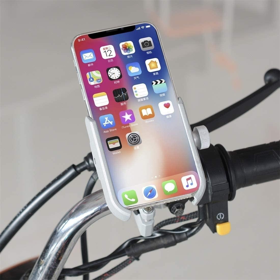 Happyshopping Bracket Motorcycle Aluminium Alloy Pressure Casting Mobile Phone Holder Bracket, Handlebar Version (Black) (Color : Silver)