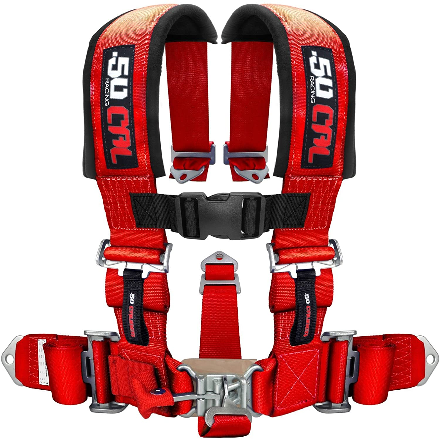50 Caliber Racing Red 5 Point Harness with 3