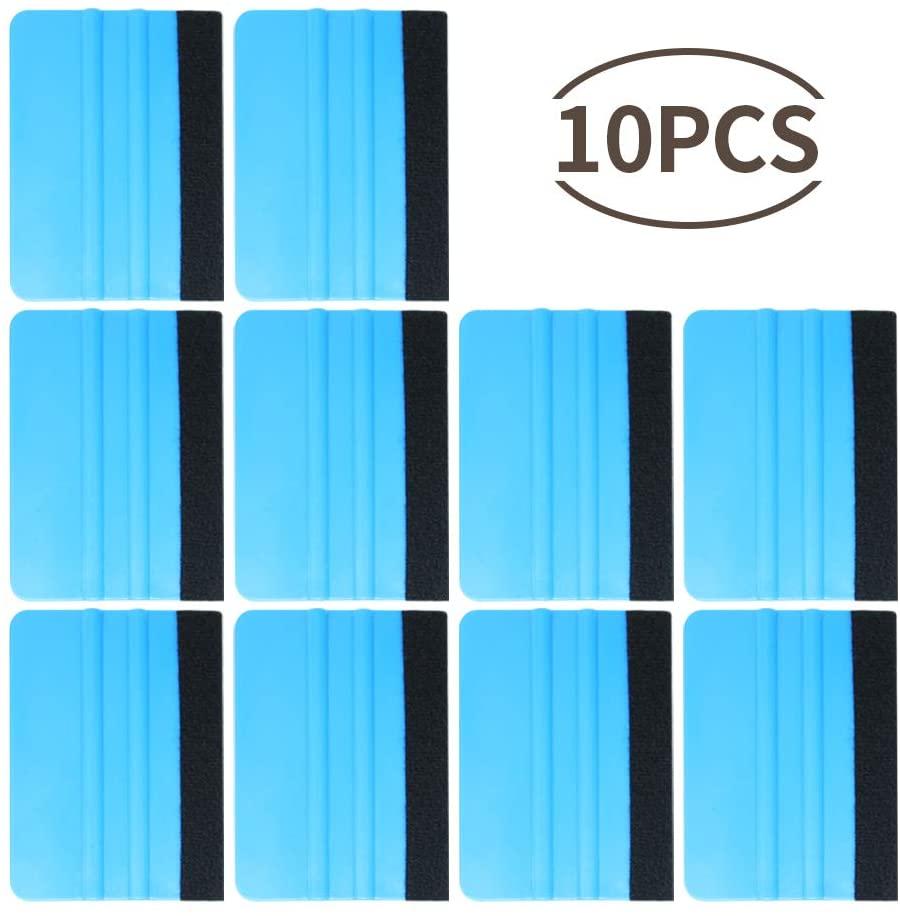 10 Pcs Plastic Felt Edge Squeegee 4 Inch for Car Vinyl Scraper Decal Applicator Tool with Black Fabric Felt Edge Car Wrapping Tool Kits Blue PP Scraper