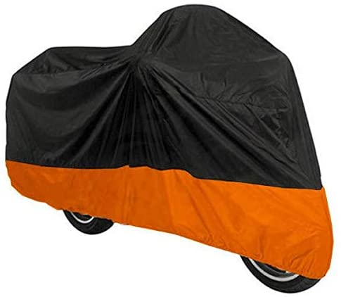 UV Protective Scooter Breathable Street Bikes Motorcycle Cover XXL Black & Orange