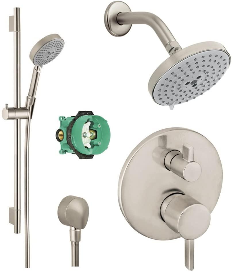 Hansgrohe KSH04447-27495-66BN-2 Raindance Shower Faucet Kit with Handshower, Wallbar, PBV Trim with Diverter & Rough, Brushed Nickel