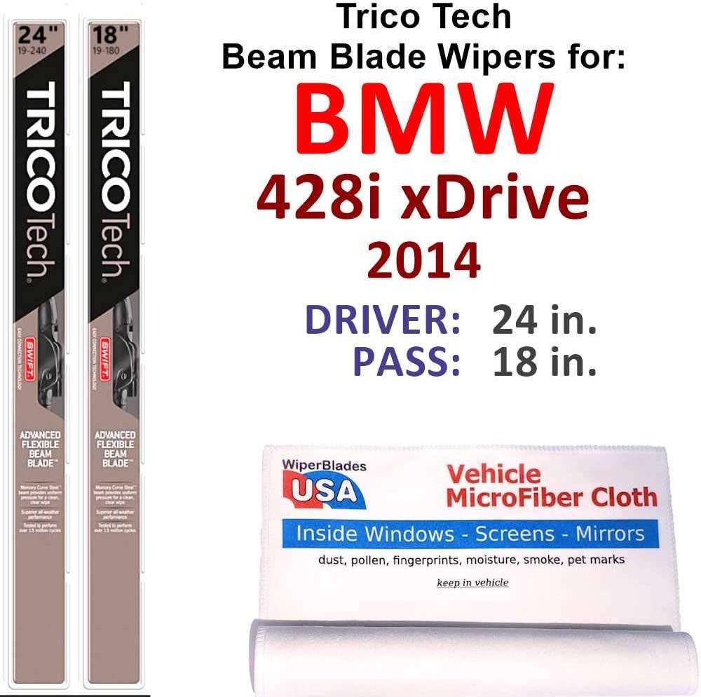 Beam Wiper Blades for 2014 BMW 428i xDrive Set Trico Tech Beam Blades Wipers Set Bundled with MicroFiber Interior Car Cloth
