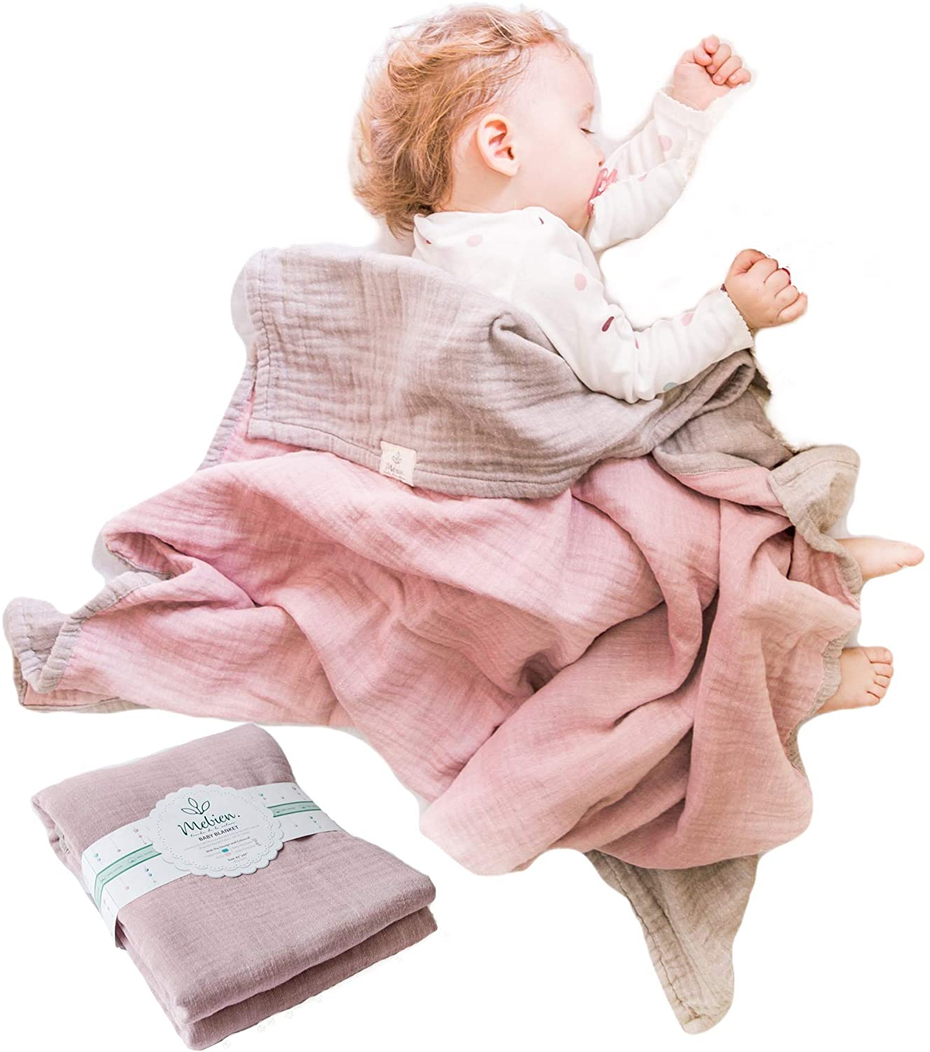 Muslin Baby Blankets for Girls Boys-Mebien Receiving Stroller Crib Nursery Bedding Lightweight Blanket Quilt Swaddle -Infant Toddler Newborn Unisex -Baby Shower Registry Gifts-Cotton Grey&Rose 38x42