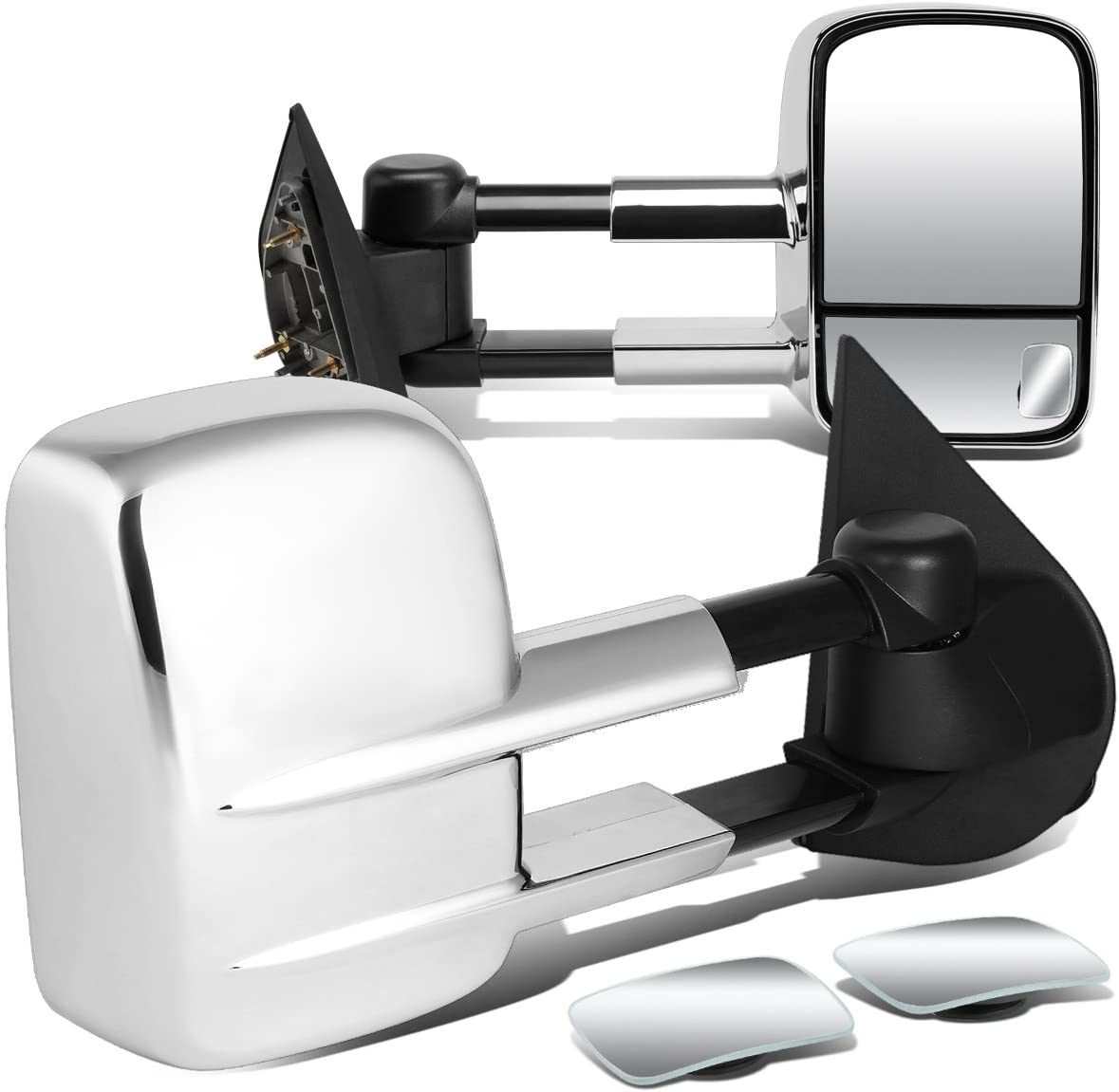 DNA Motoring TWM-002-T111-CH+DM-073 Pair of Towing Side Mirrors + Blind Spot Mirrors