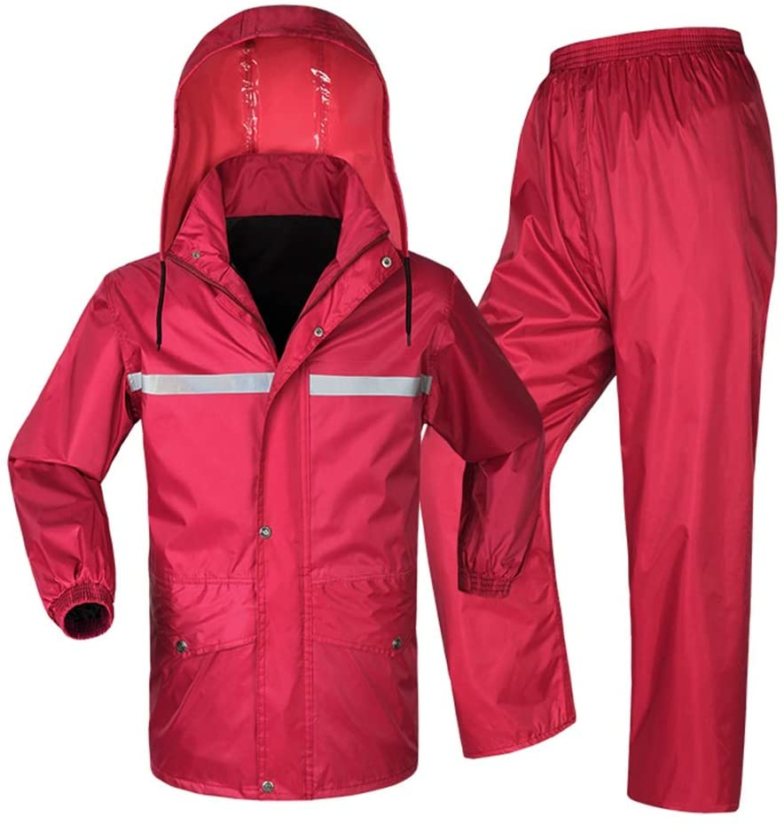 QIYUEYU Single Reflective Split Raincoat Set Outdoor Electric Male and Female Adult Riding Raincoat (Color : Red, Size : XXXL)