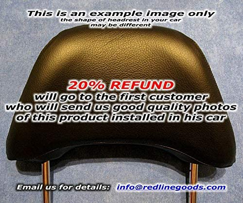 RedlineGoods headrest Covers Compatible with Nissan 240SX 1995-99. Black Alcantara-Silver Thread