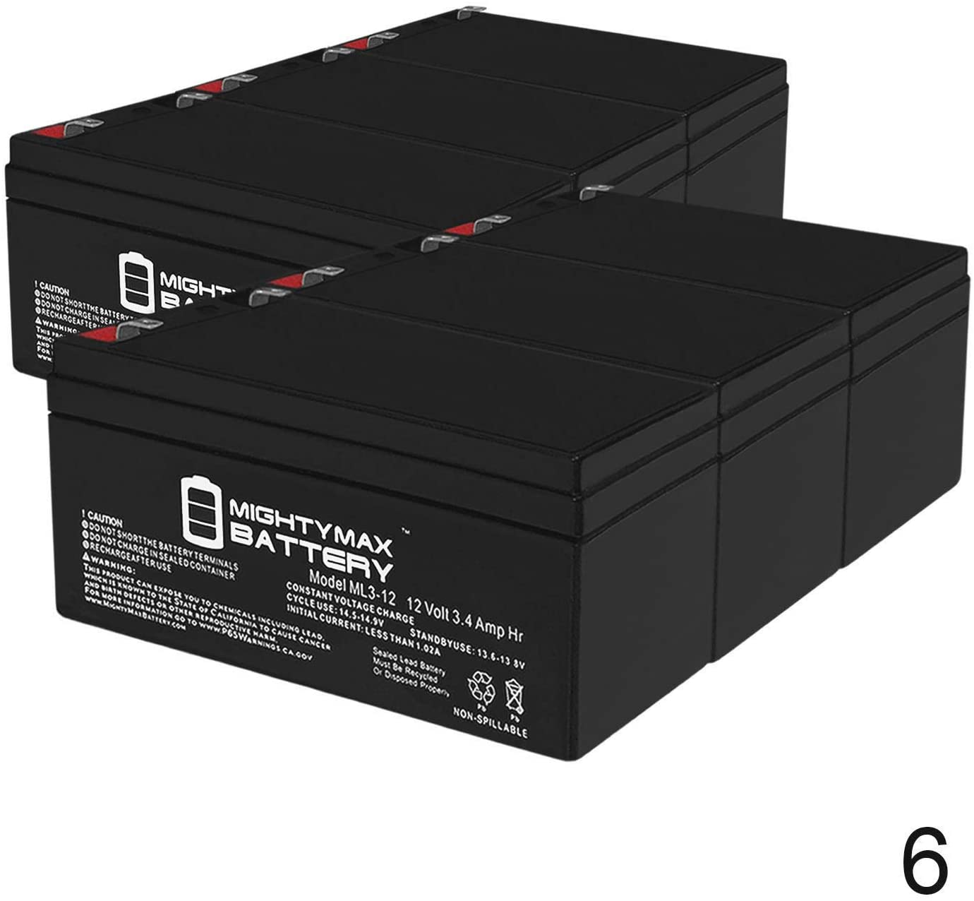 Mighty Max Battery ML3-12 12V 3.4AH Sealed Lead Acid (SLA) Battery for BP3.6-12 - 6 Pack Brand Product