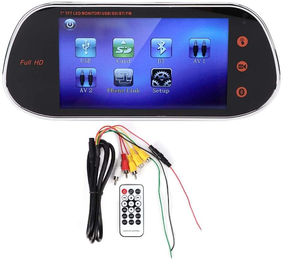 Rearview Mirror, 7In Rearview Mirror Camera DVR 1080P Touch Screen Night Vision W/MP5 Bluetooth Remote Control Parking Camera