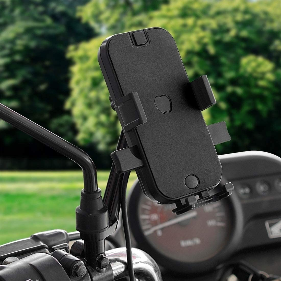 Happyshopping Bracket CS-344C2 Motorcycle Chargeable Automatic Lock Mobile Phone Holder, Mirror Holder Version (Black) (Color : Black)