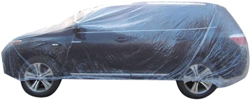 ESUPPORT Elastic Band Clear Plastic Disposable Universal Car Covers Rain Dust Garage Cover Waterproof Temporary 16ft X 24ft