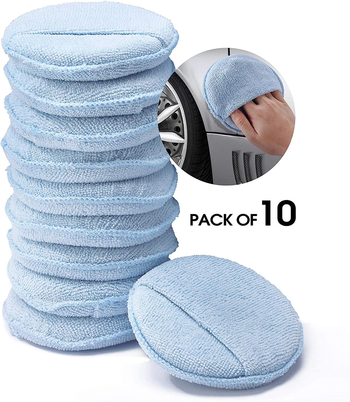HOUSE DAY Microfiber Wax Polish Applicator Wax Applicator Foam Sponge with Finger Pocket for Cars Wax Applicator Pad for Hand Polish (Blue, 5