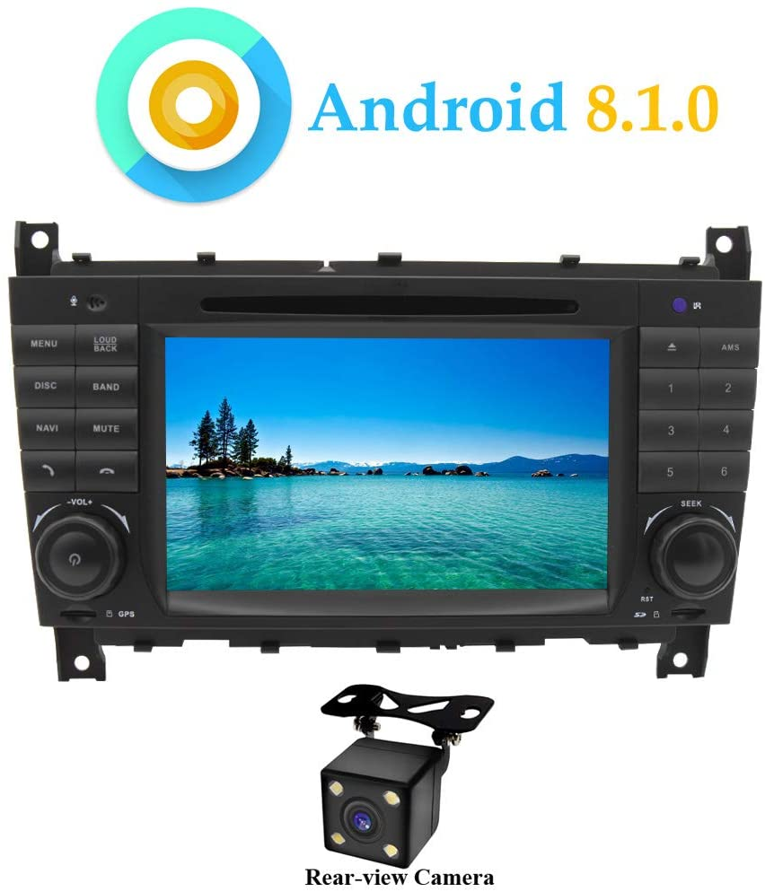 XISEDO Android 8.1.0 Car Stereo Quad Core 7 Inch in Dash Head Unit Autoradio Car GPS Navigation with DVD Player for Mercedes-Benz C Class W203/ Benz CLK W209 (with Rear-View Camera)
