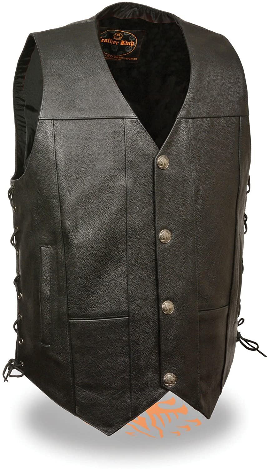 LEATHER KING Mens Motorcycle Buffalo Snap Buttons with Side Laces 2 Gun Pockets Single Panel (2XL Regular)