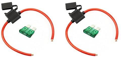 VOODOO (2) True Spec OFC 10 AWG Gauge ATC Inline Fuse Holder Fuseholder Cover & (2) Fuses (30 Amp)