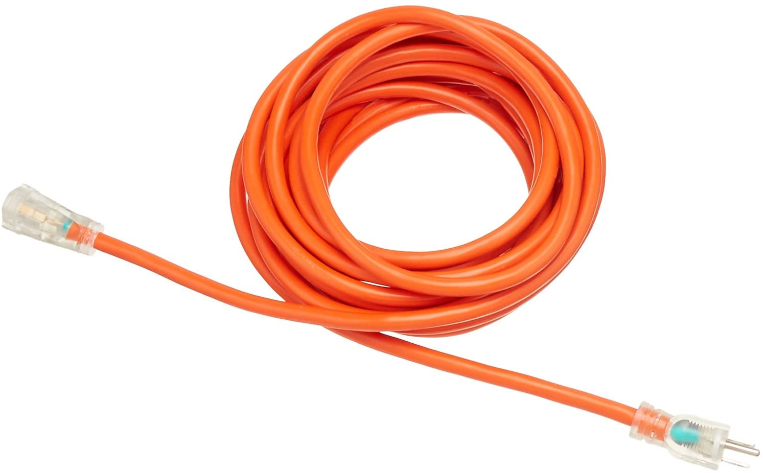 DHgateBasics 12/3 SJTW Heavy-Duty Lighted Extension Cord | Orange, 25-Foot