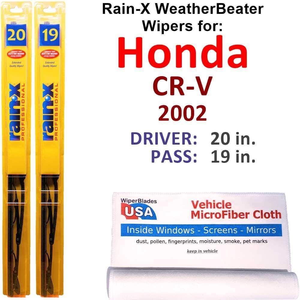 Rain-X WeatherBeater Wiper Blades for 2002 Honda CR-V Set Rain-X WeatherBeater Conventional Blades Wipers Set Bundled with MicroFiber Interior Car Cloth
