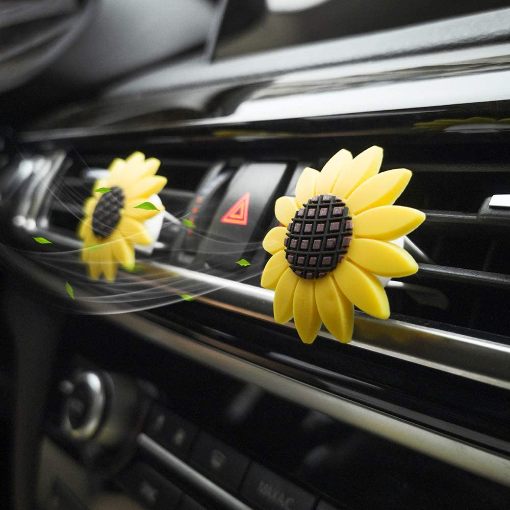 Car Vent Decoration Accessories Sunflower Air Vent Clips Cute Car Air Freshener Sunflowers Gift Decorations Car Clip Interior Air Vent Decorations 2PK with 4 Cotton Pads