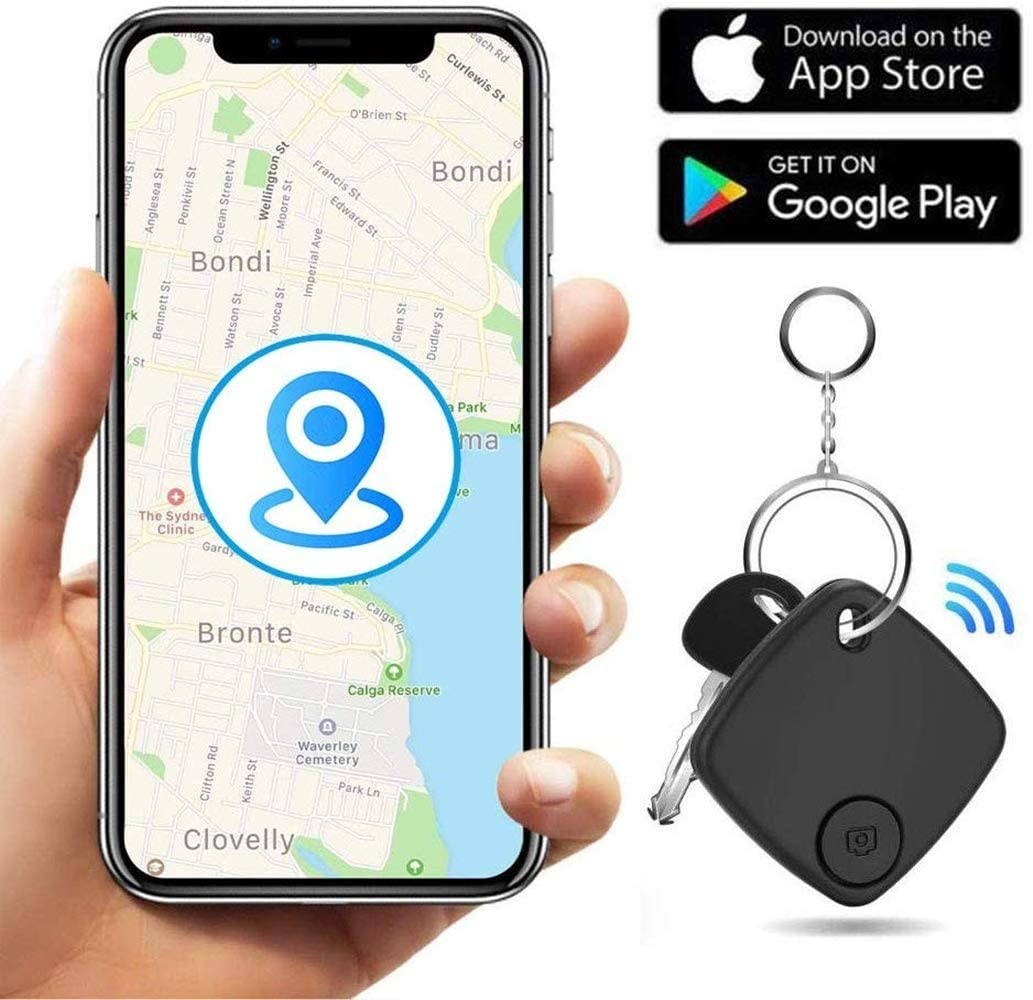 Key Finder Locator Smart Tracker Device with Application for Phone Keychain Wallet Luggage Bag-Anti-Lost Bluetooth Item Finder GPS Tracker (Black)