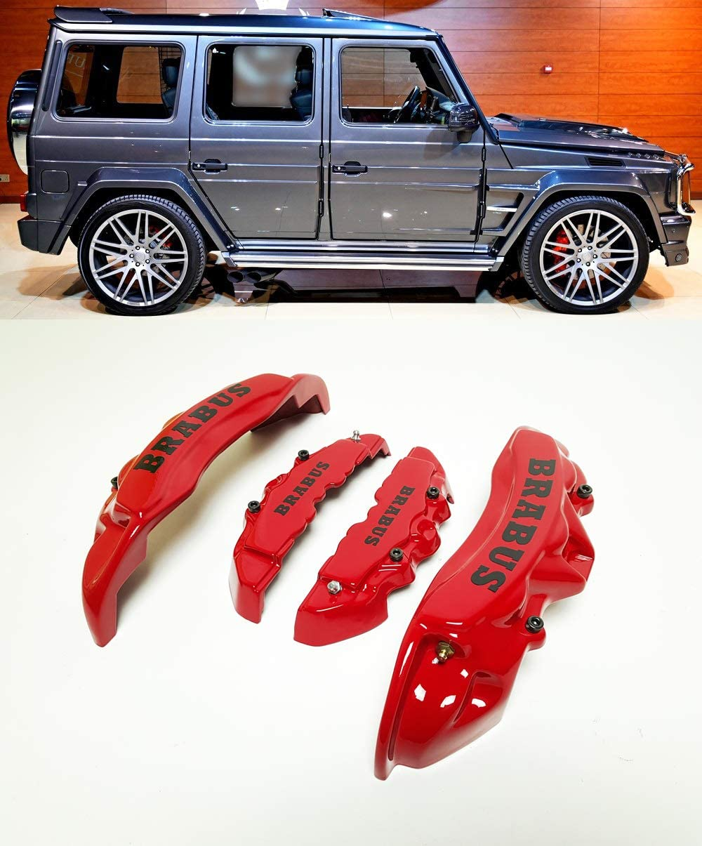 Brabus Style – Red Color Fiberglass – Brake Caliper Covers Brake Pads Trim – for Mercedes-Benz ML-Class W166 GL-Class X166 G-Class W463 – for 19 inch + rims
